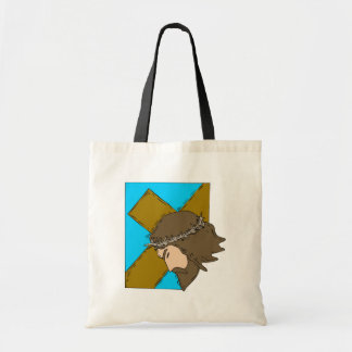 Jesus carrying cross 2 tote bag