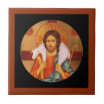 "Jesus Carrying Lost Lamb on Shoulders Tile<br><div class=""desc"">Vintage Russian icon.  Image of Christ with a white lamb on his shoulders.  The painting is full color with golden orange tint.</div>"