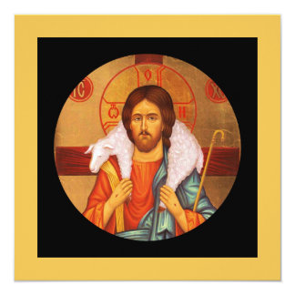 Jesus Carrying Lost Sheep Icon Card