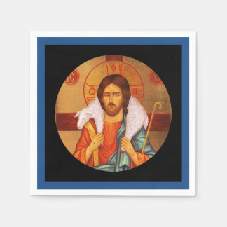 Jesus Carrying Lost Sheep Icon Paper Napkin