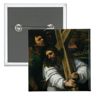 Jesus Carrying the Cross, c.1535 (oil on panel) Pinback Button