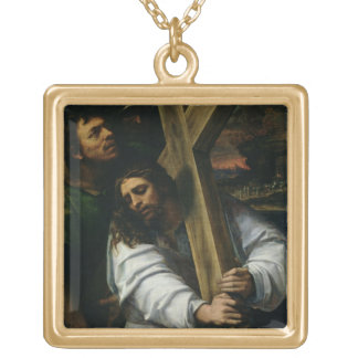 Jesus Carrying the Cross, c.1535 (oil on panel) Square Pendant Necklace