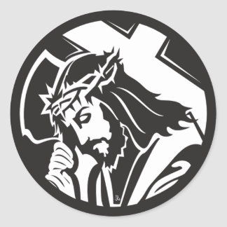 Jesus Carrying The Cross Classic Round Sticker