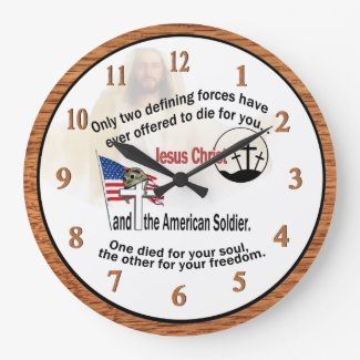 Jesus Christ & American Soldier Large Round Clock