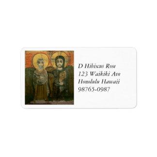 Jesus Christ and Abbot Coptic Icon Address Label