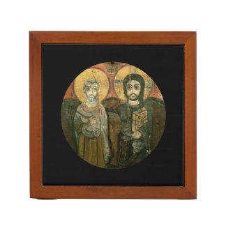 Jesus Christ and Abbot Coptic Icon Desk Organizers