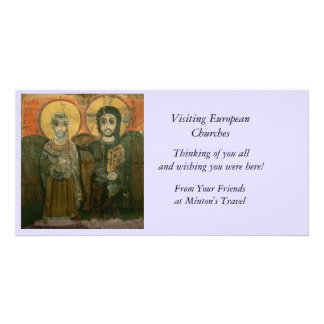 Jesus Christ and Abbot Coptic Icon Photo Card