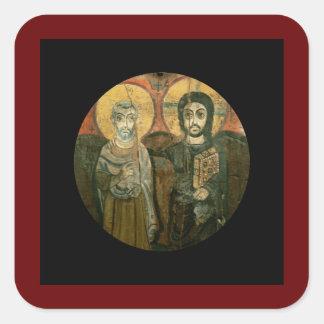 Jesus Christ and Abbot Coptic Icon Square Sticker