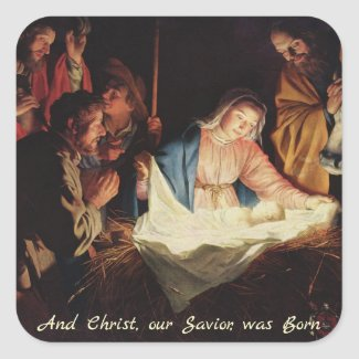 Jesus Christ and Mary, Bethlehem Christmas Sticker