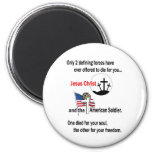 Jesus Christ and the American Soldier 2 Inch Round Magnet
