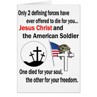 Jesus Christ and the American Soldier 2nd Version Greeting Card
