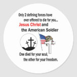 Jesus Christ and the American Soldier 2nd Version Classic Round Sticker