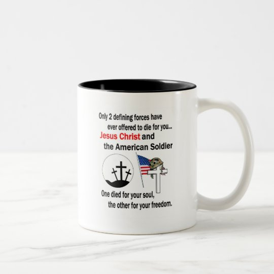 Jesus Christ and the American Soldier 2nd Version Two-Tone Coffee Mug