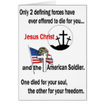 Jesus Christ and the American Soldier Greeting Card