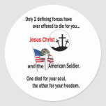 Jesus Christ and the American Soldier Classic Round Sticker