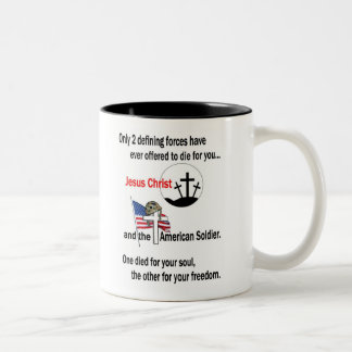 Jesus Christ and the American Soldier Two-Tone Coffee Mug