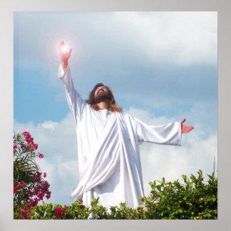 Jesus Christ Ascending to Heaven Christian Art God Poster