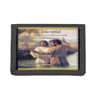Jesus Christ Baptism image one Trifold Wallet