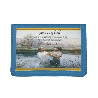 Jesus Christ Baptism image two Trifold Wallet