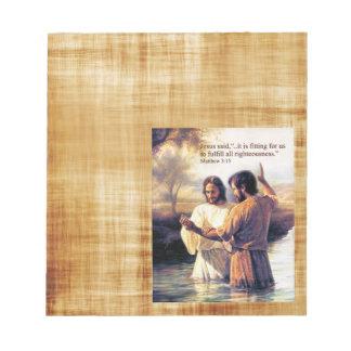 Jesus Christ Baptism Options Note Pad