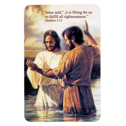 Jesus Christ Baptism Premium Magnet