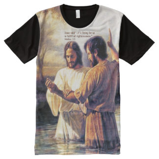 Jesus Christ Baptism Printed Panel T-Shirt