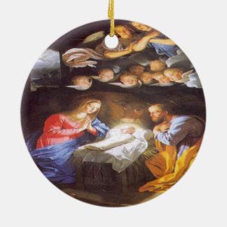 JESUS CHRIST BIRTH CERAMIC ORNAMENT
