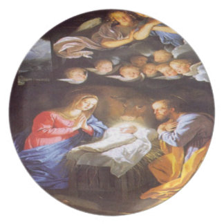 JESUS CHRIST BIRTH MELAMINE PLATE