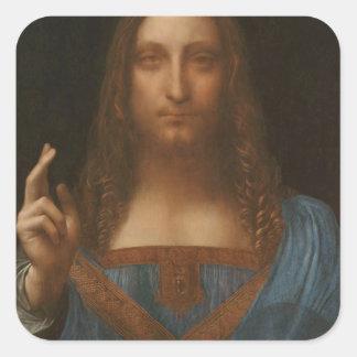 Jesus christ by Leonardo da Vinci,renaissance pain Square Sticker