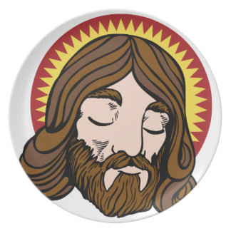 Jesus Christ Cartoon Face Dinner Plate