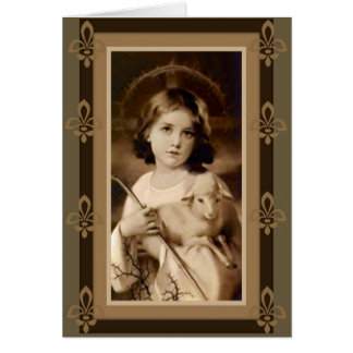 Jesus Christ Child Boy Lamb Staff Card
