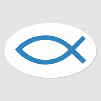 Jesus Christ, Christian fish symbol for t-shirt Oval Sticker