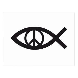Jesus Christ, Christian fish symbol, peace sign Postcard