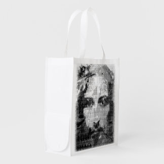 Jesus Christ Collage halftone black + your ideas Grocery Bag