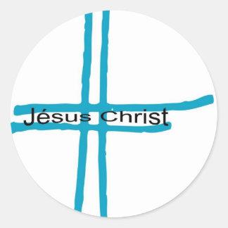 Jésus Christ croix bleue Classic Round Sticker