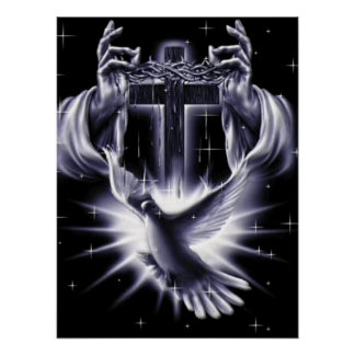 Jesus Christ Crown of Thorns and Dove Poster