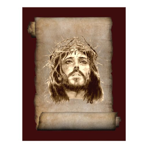 """Jesus Christ Crown of Thorns on Scroll 8.5"""" X 11"""" Flyer"""