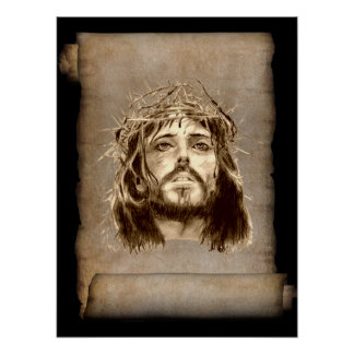 Jesus Christ Crown of Thorns on Scroll Poster