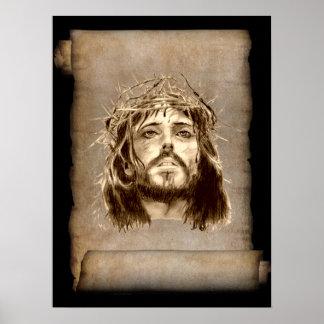 Jesus Christ Crown of Thorns on Scroll Print