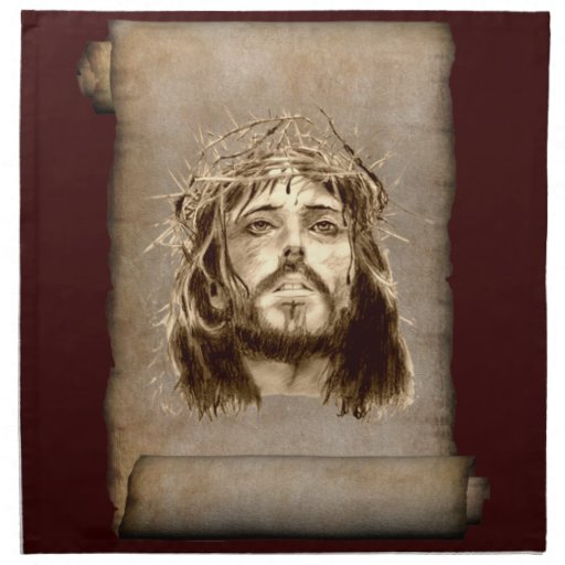 Jesus Christ Crown of Thorns on Scroll Printed Napkin