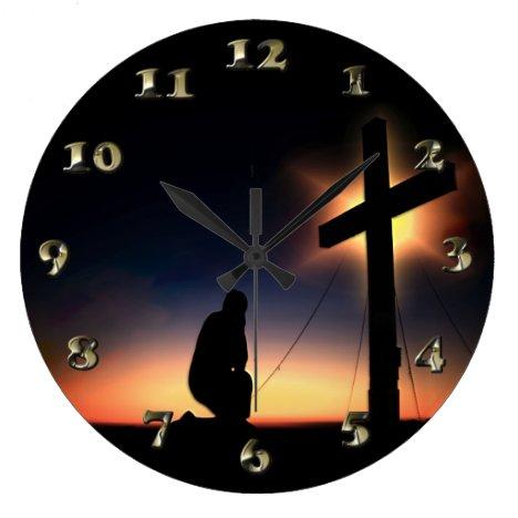 Jesus Christ Crucifixion Cross Large Clock