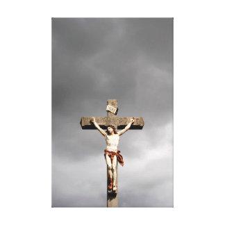 Jesus Christ crucifixion sculpture Canvas Print