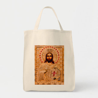 Jesus christ golden icon grocery tote bag
