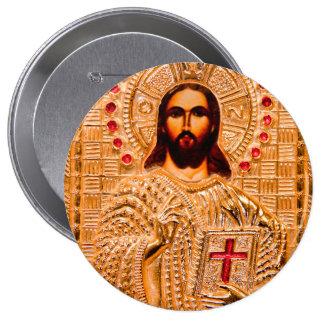 Jesus christ golden icon pinback buttons