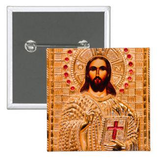 Jesus christ golden icon pinback button