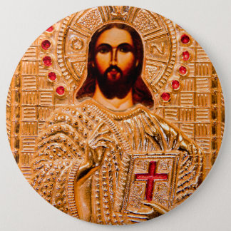 Jesus christ golden icon button