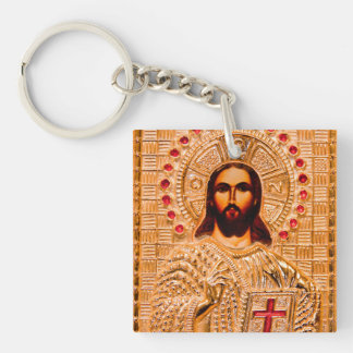 Jesus christ golden icon keychain