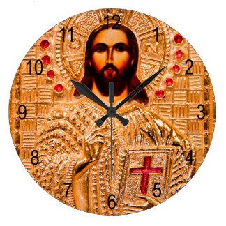 Jesus christ golden icon large clock