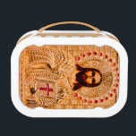 """Jesus christ golden icon lunch box<br><div class=""""desc"""">Jesus Christ in gold metal decorated with red stones. Holding a book with red cross. Close up Photography.</div>"""