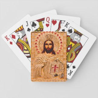 Jesus christ golden icon card deck